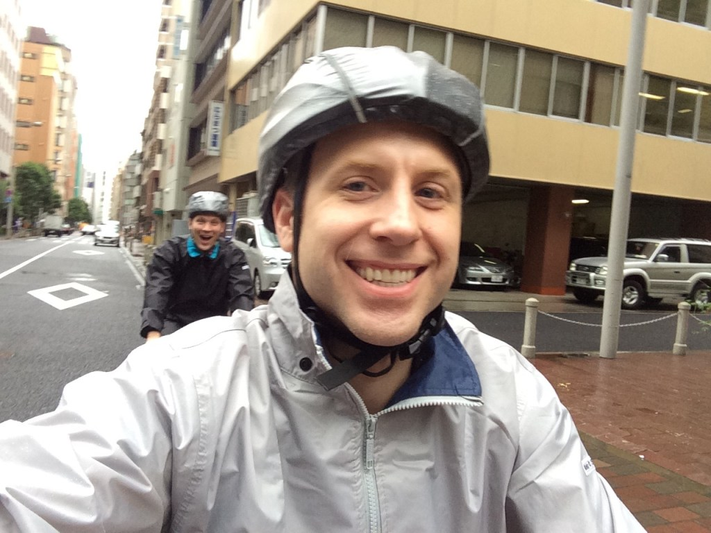 We're ready for our very wet 6 hours of biking through the heart of Tokyo