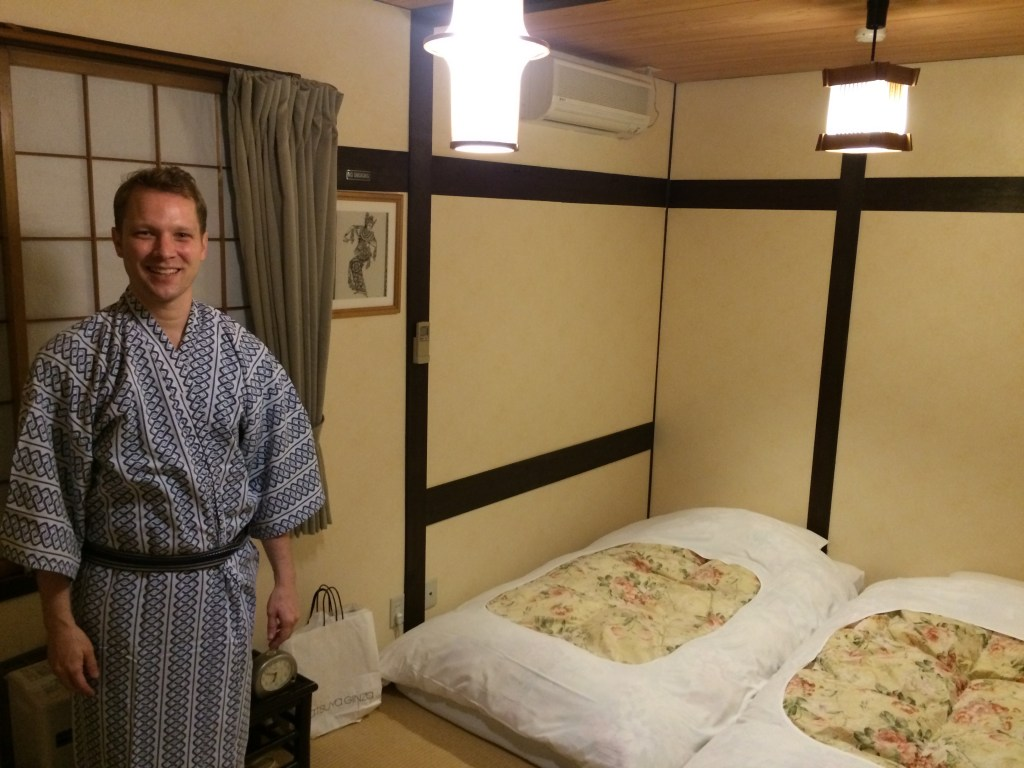 Inside the Rickshaw Inn - a traditional Japanese guesthouse with robes. Right in the middle of town and not bad for the price.