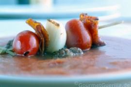 Tomatensuppe mir Chorizospießchen #rezept #gourmetguerilla