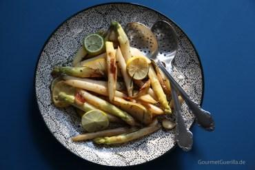 Gebratener Spagel mit Birne, Roasmarin und Knoblauch #rezept #gourmetguerilla