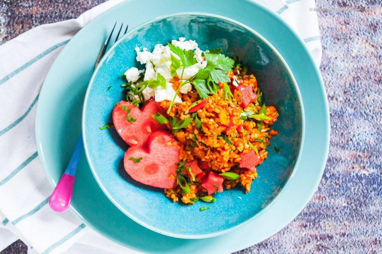 Fixer Bulgur-Gemüse-Salat mit Melone und Feta  GourmetGuerilla.de