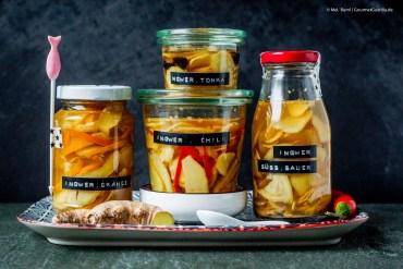 {Pickles} Schneller, selbst eingelegter Ingwer pur, mit Chili, Orange oder Tonkabohne  GourmetGuerilla.de