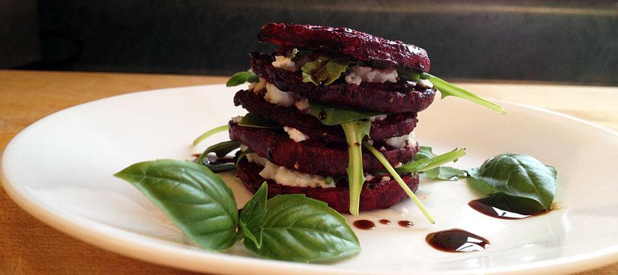 Stacked Beet and Arugula Salad