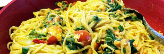 Pasta with Smoked Salmon in a Creamy Curry Sauce