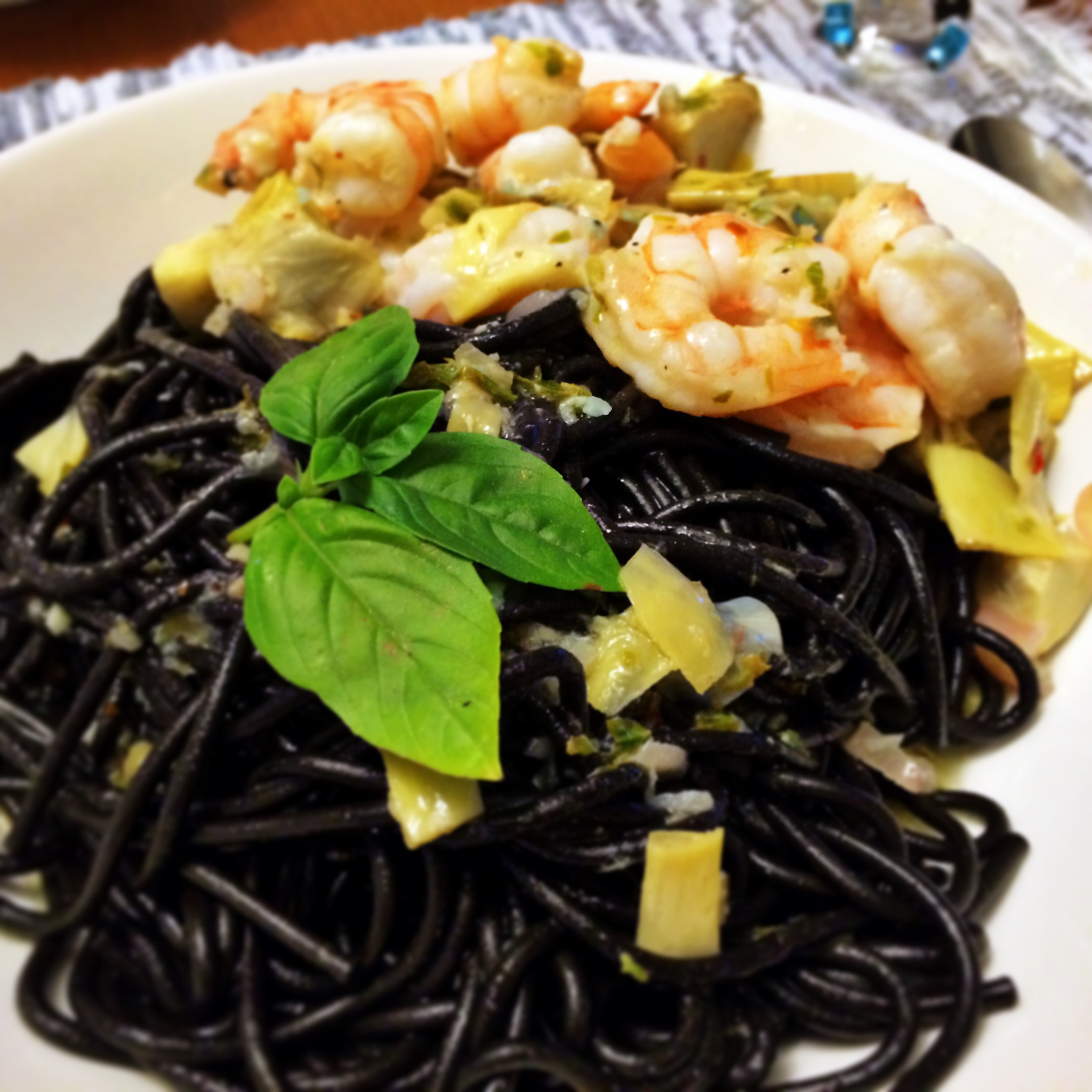 Squid Ink Pasta with Shrimp and Artichokes - The Gourmet Housewife