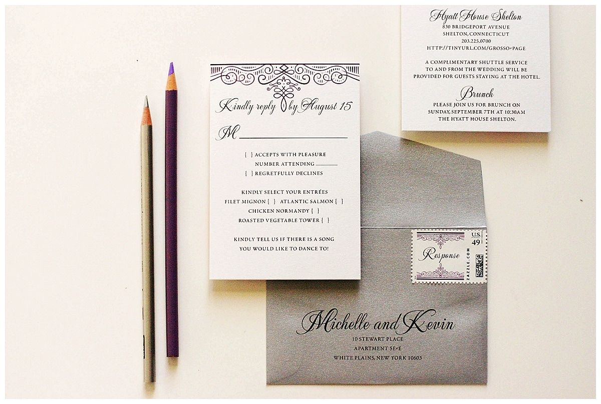 The Purple And Silver Wedding Invitations Were Mailed In White Envelopes  Printed With The Purple Flourish On The Flap On Both The Custom Rsvp And  Outer ...