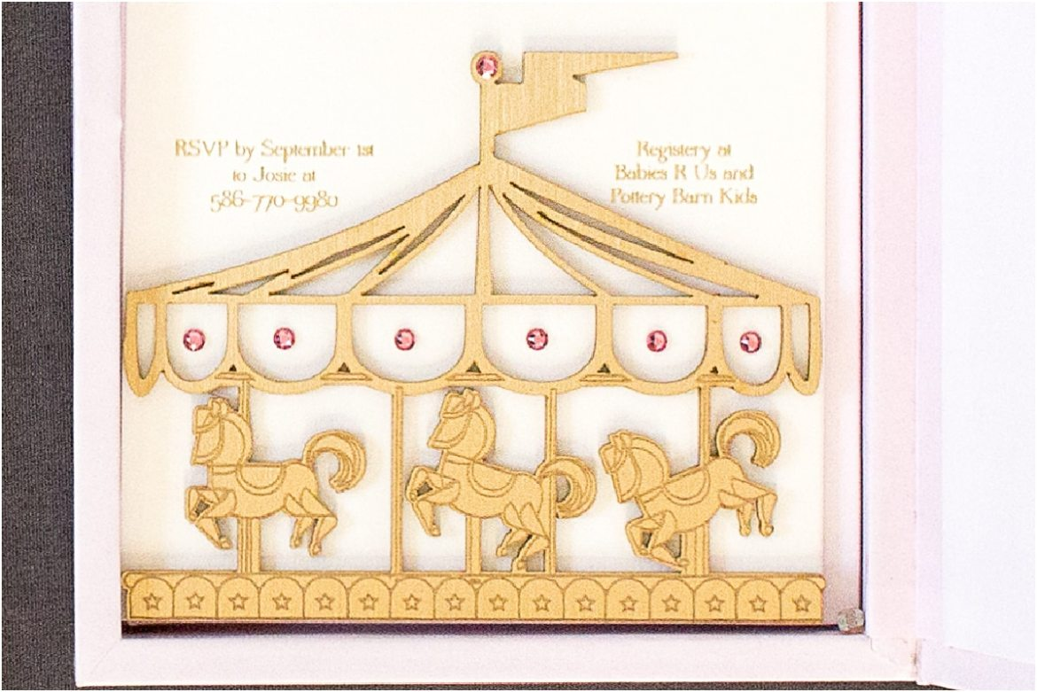 gold laser cut invitation