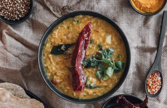 Easy Red Lentil Dal with Raita (Masoor Dal)- Bangladesh