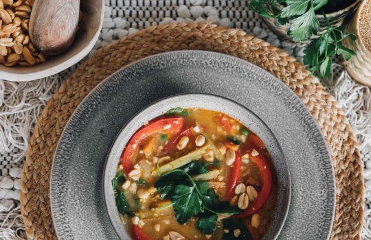 Peanut Quinoa Soup (Bolivian Sopa de Mani)