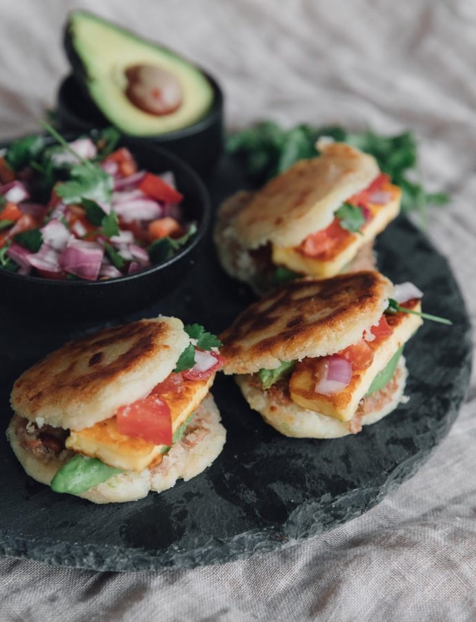 Colombian Arepas with Halloumi, Avocado & Refried Beans