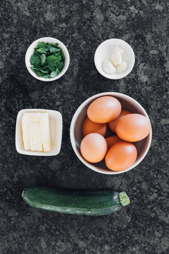 Zucchini Scrambled Eggs with Fried Halloumi- Cyprus Ingredients