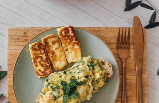 Zucchini Scrambled Eggs with Fried Halloumi- Cyprus