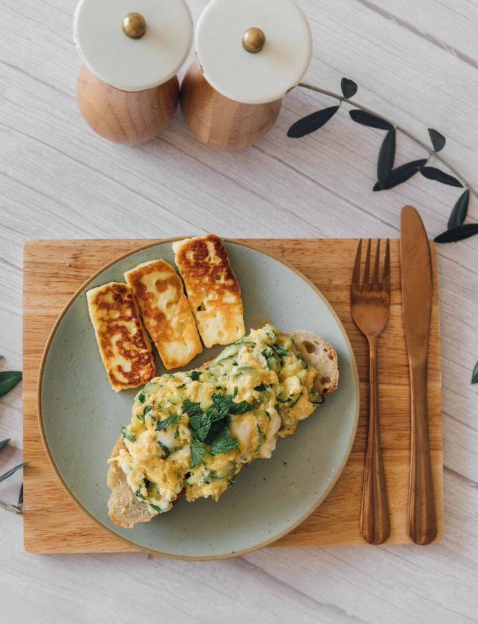 Zucchini Scrambled Eggs with Fried Halloumi- Cyprus