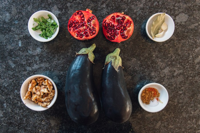 Vegan Eggplant Walnut Stuffed Rolls (Badrijani Nigvzit) ingredients