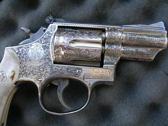 American Scroll engraving, N-Frame revolver, Smith and Wesson