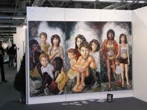 Dans la rue- huile s/toile - 200x300 - Biennale de Florence - 2003