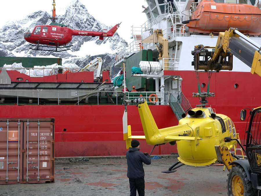 The SGHT helicopters being loaded in the hold of the RRS Shackleton. Photo Dag Børresen.