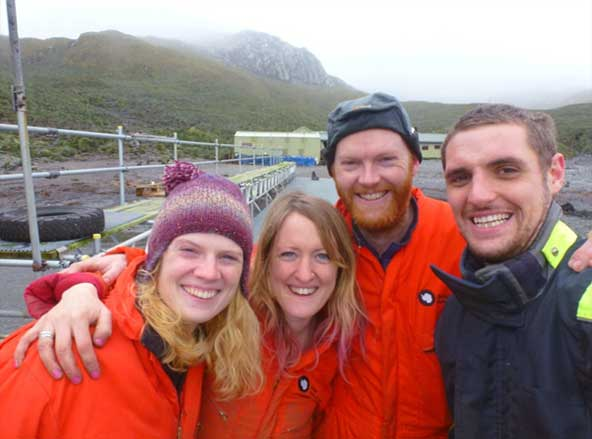 And then there were four. The winter team (l to r), Siân, Lucy, Al and Robbie. Photo Robbie Scott.