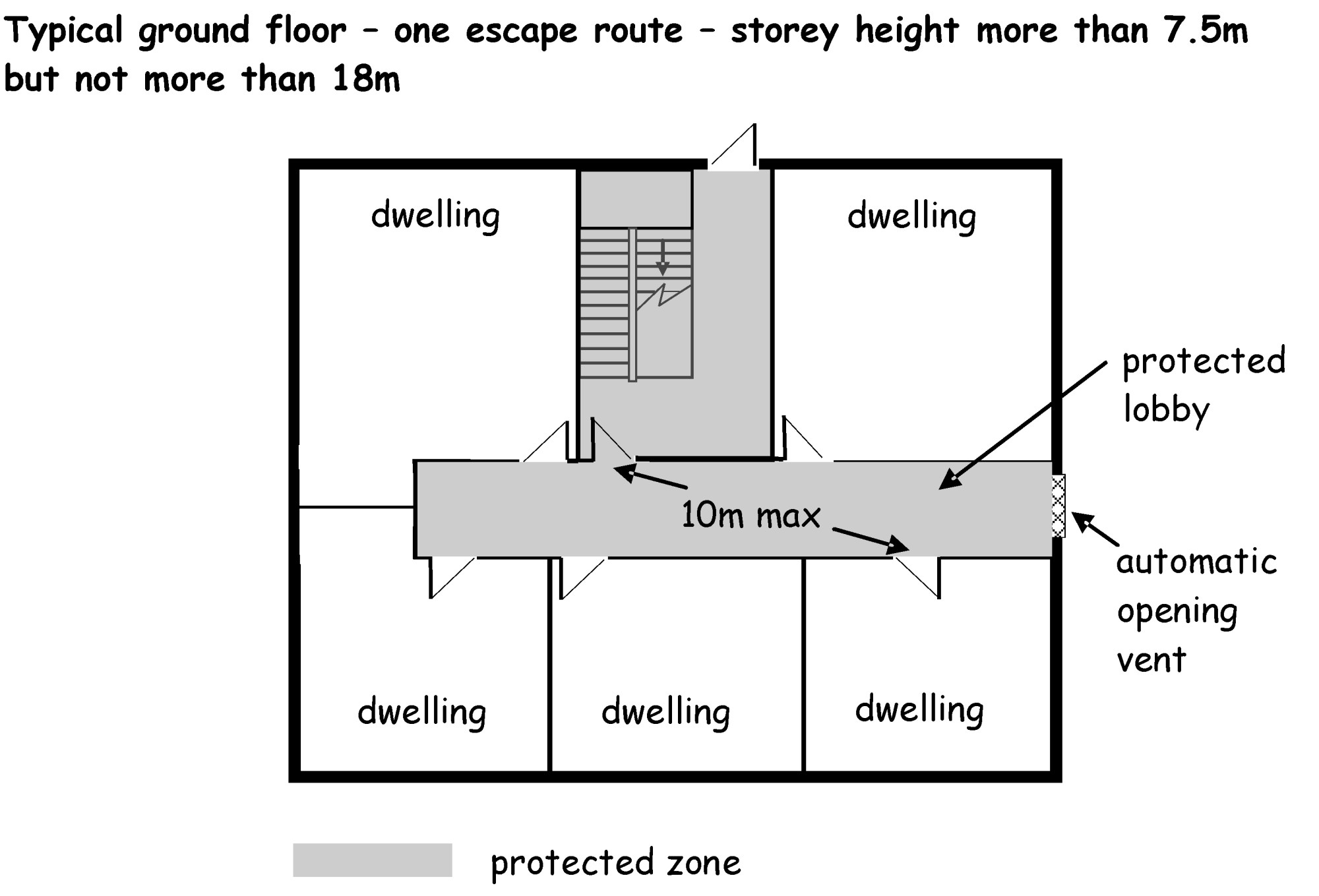 hight resolution of ground floor one escape route
