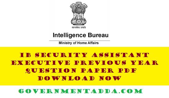 Intelligence Bureau Exam Papers Pdf