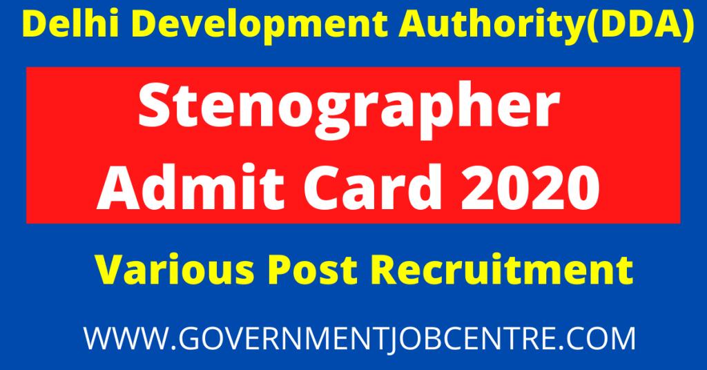 DDA Stenographer Admit Card