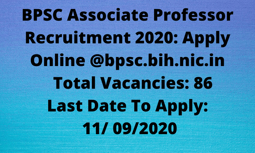 BPSC Associate Professor Recruitment 2020