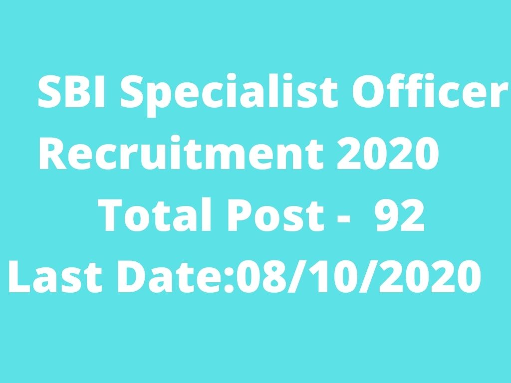 SBI Specialist Officer Recruitment 2020