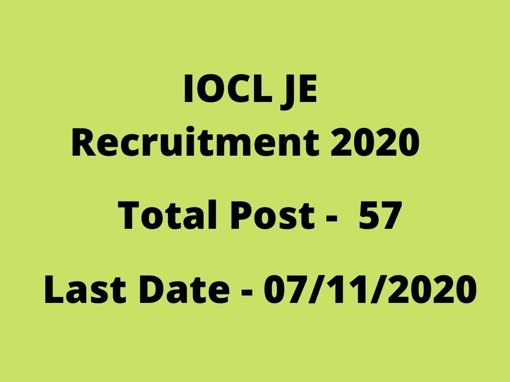 IOCL JE Recruitment 2020