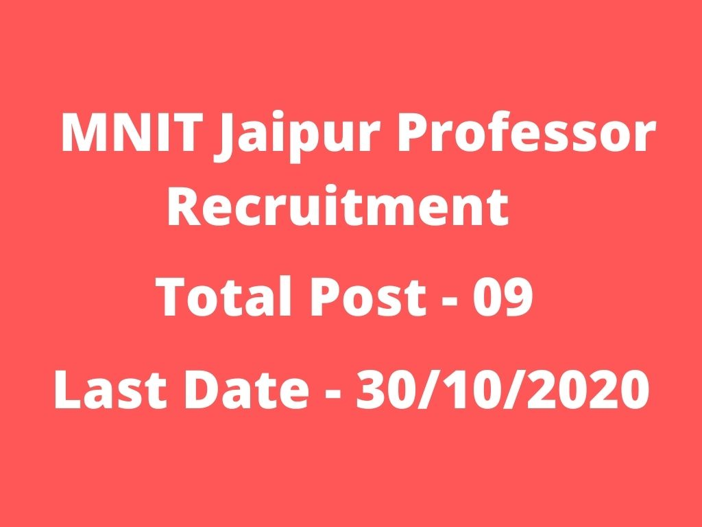 MNIT Jaipur Professor Recruitment
