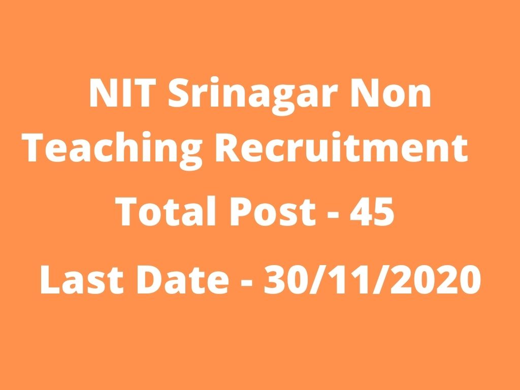 NIT Srinagar Non Teaching Recruitment