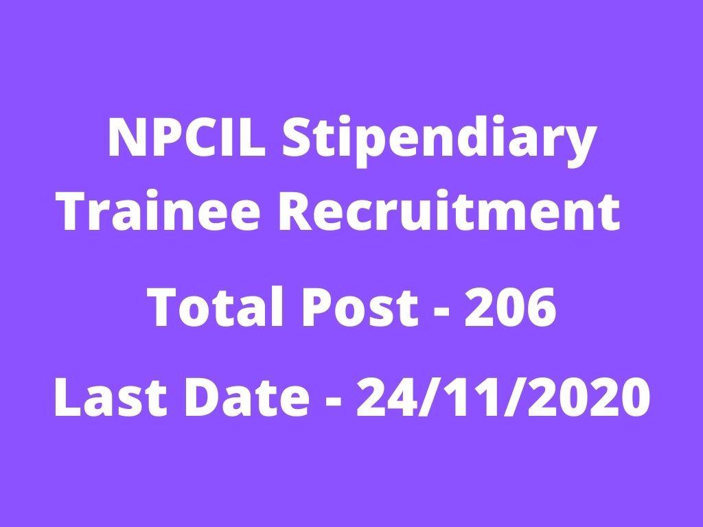 NPCIL Stipendiary Trainee Recruitment 2020