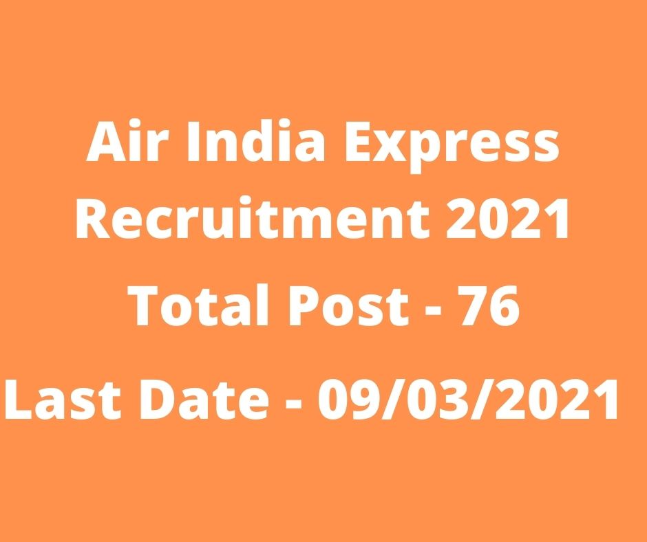 Air India Express Recruitment 2021