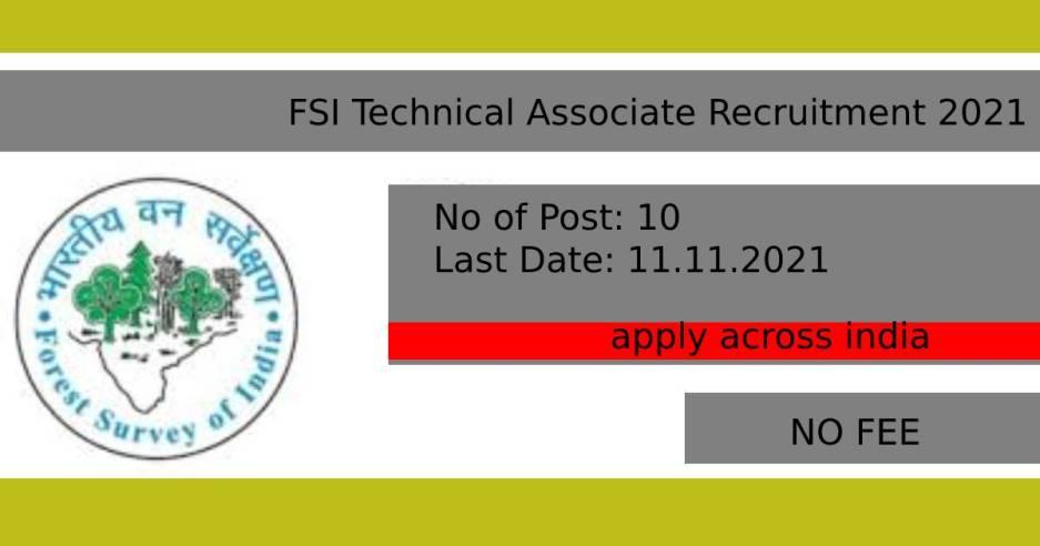 FSI Technical Associate Recruitment 2021