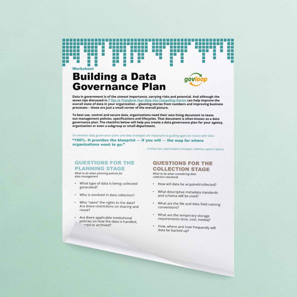Worksheet Building A Data Governance Plan Resources