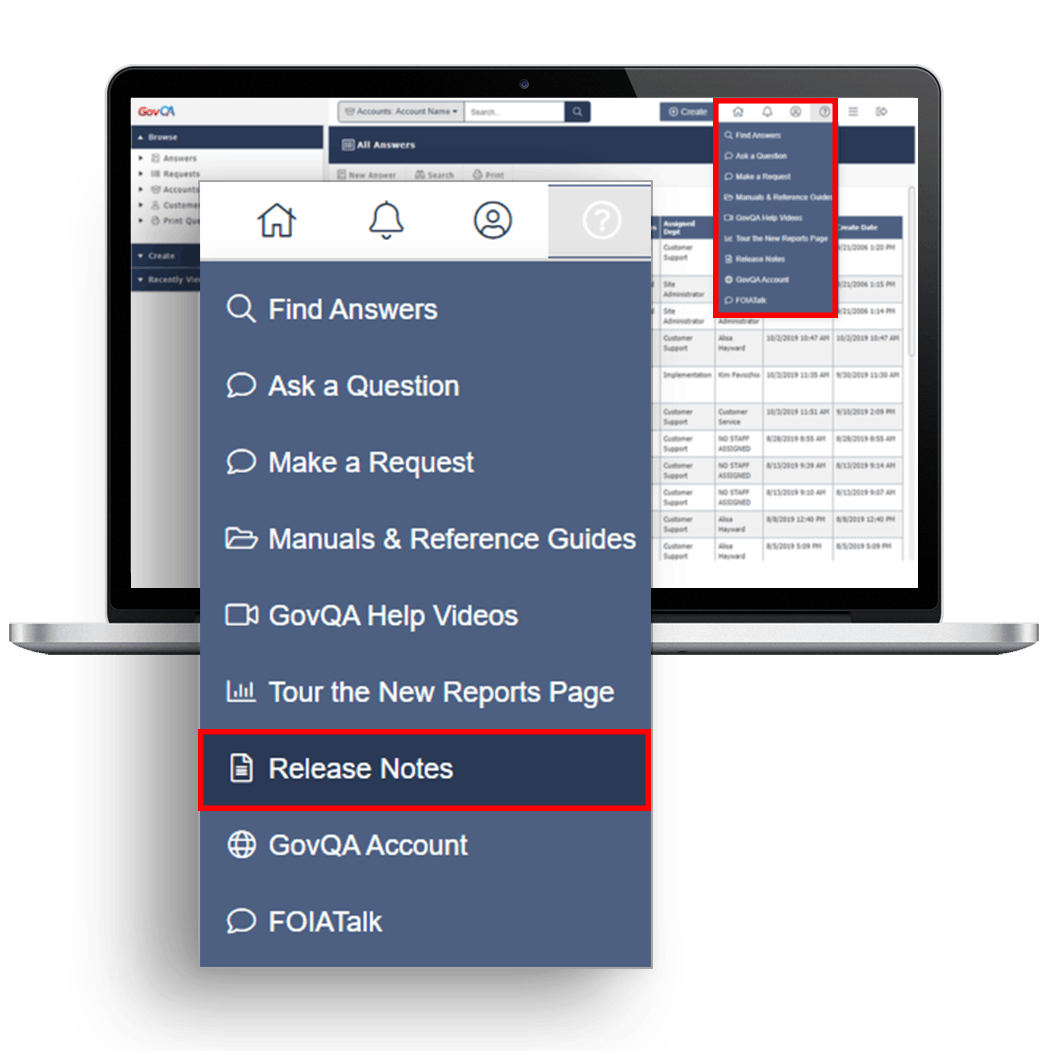 govqa customer resources new release notes screenshot on macbook pro