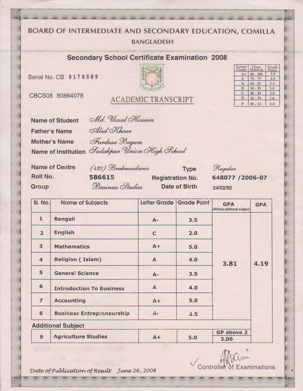 On The 10th Marksheet Which Number Is An Ssc Memo Number