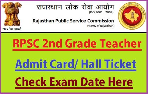 RPSC 2nd Grade Teacher Admit Card 2019