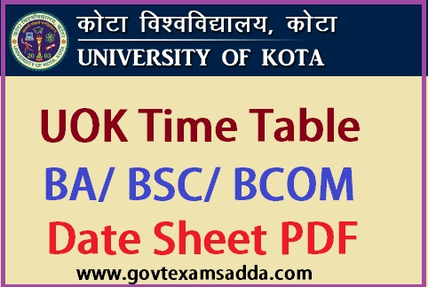 UOK Time Table 2019
