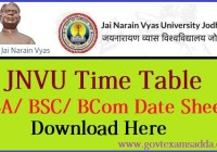 JNVU Time Table 2020