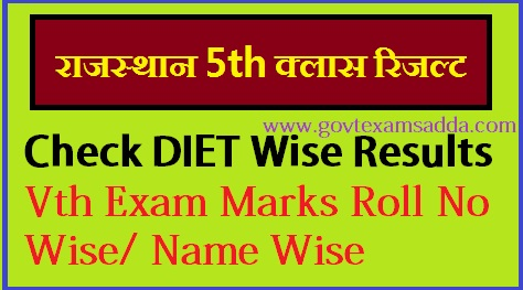 Rajasthan DIET 5th Class Board Result 2019
