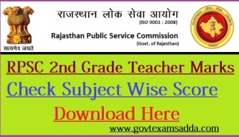 RPSC Grade 2nd Teacher Result 2019, रिजल्ट Subject Wise Download