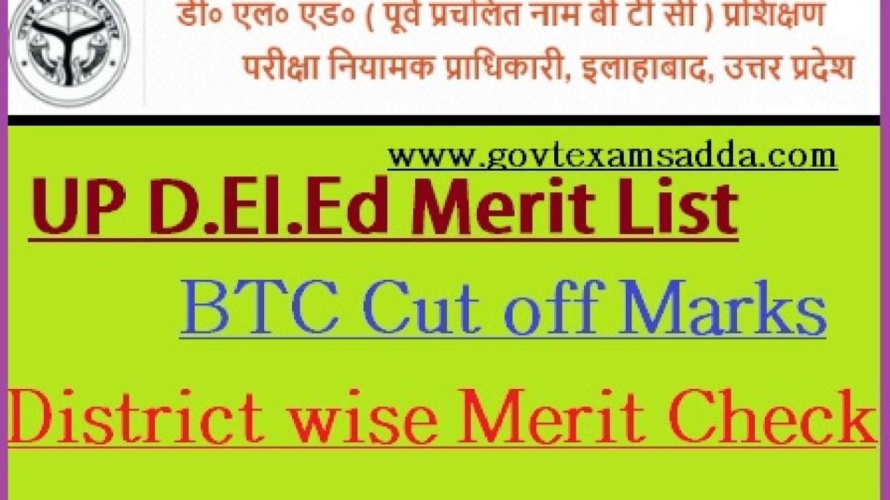 UP BTC (D El Ed) Merit List 2019 District Wise Cut off Download