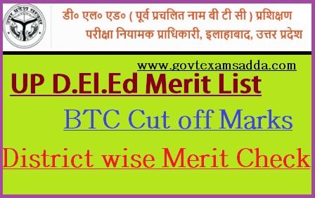 UP D.El.Ed Merit List 2019
