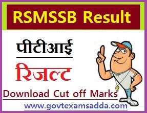 RSMSSB PTI Result 2018-19