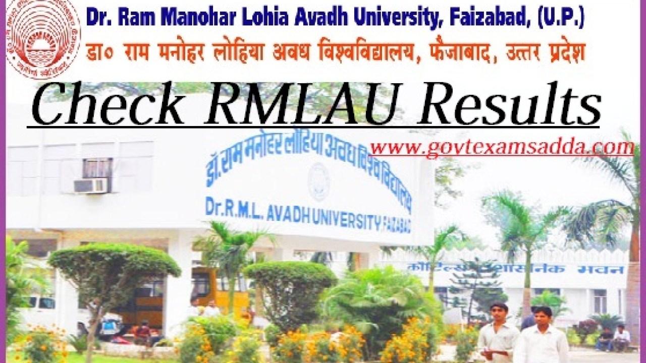 RMLAU Avadh University Result 2019 B A B Sc B Com Results