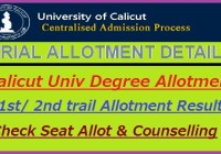 Calicut University Degree Allotment 2018