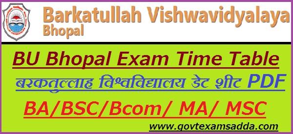 BU Bhopal Time Table 2020