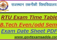 RTU Exam Time Table 2019