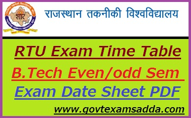 RTU Exam Time Table 2020