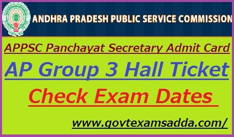 APPSC Panchayat Secretary Admit Card 2020